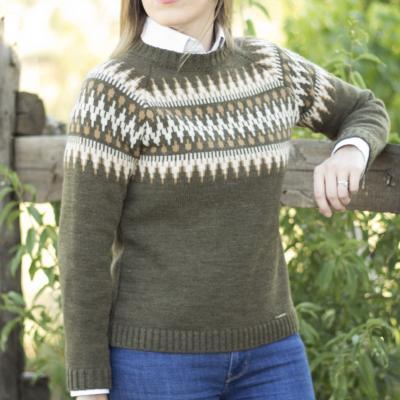 jersey jaquard verde caza lana mujer huntfield