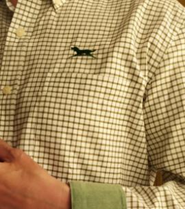 Huntfield | camisa hombre cuadro pequeño (Verde, M)