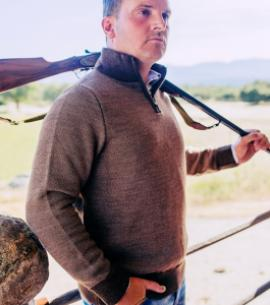 Huntfield | JERSEY DE PUNTO CON CREMALLERA MARRON (Marrón, S)