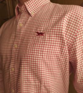 Huntfield | camisa hombre cuadro pequeño (Rojo, M)