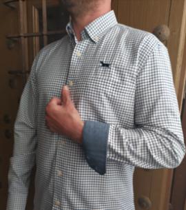 Huntfield | camisa hombre cuadro pequeño (Azul, M)