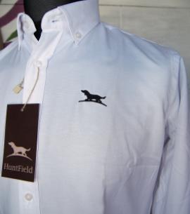 camisa blanca oxford algodon caza detalle perrito