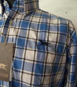 camisa oxford hombre caza detalle AZUL CAZA CABALLERO