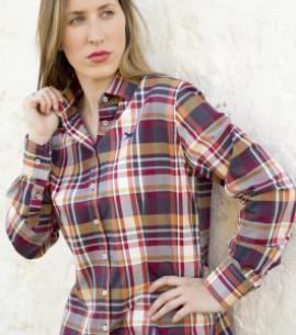 camisa señora mujer cuadros caza rojo huntfield