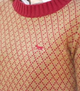 jersey mujer rombos rojo coral caza huntfield