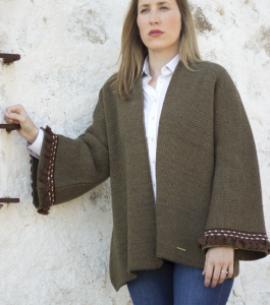 poncho lana chaqueta verde caza PASAMANERIA huntfield señora
