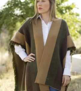 poncho lana mujer verde caza huntfield