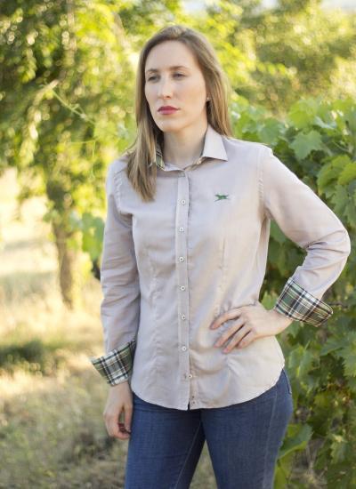 camisa señora beige cuadros caza verde huntfield