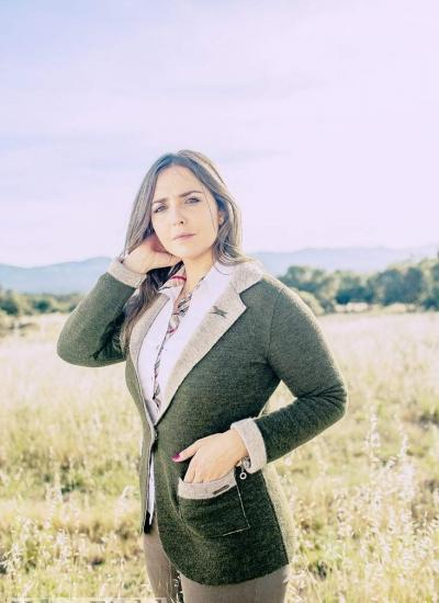 chaqueta americana de punto de mujer verde caza