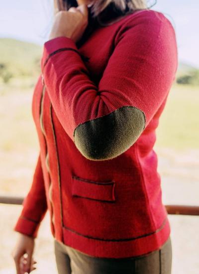 chaqueta de punto de señora coral verde caza sombrero