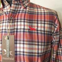 camisa caballero cuadros granate caza