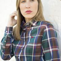 camisa señora mujer cuadros caza verde huntfield