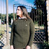 jersey punto con coderas de señora aranes verde caza
