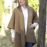poncho lana camel marron caza señora huntfield